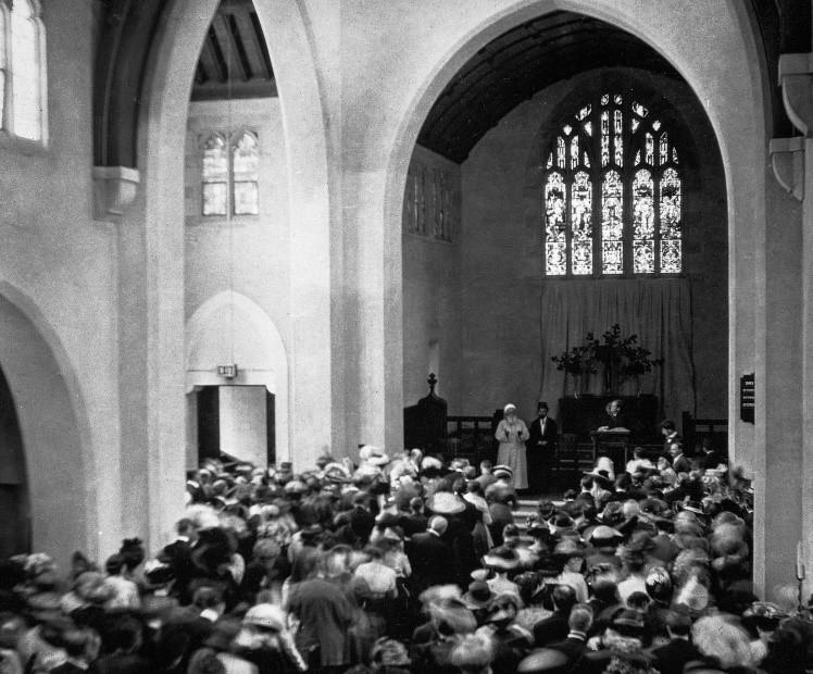 (1912年5月5日,阿博都—巴哈於芝加哥,普利茅斯公理會教堂上進行演講)